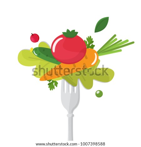 Vegetables sticked on fork. Healthy eating concept. #1007398588