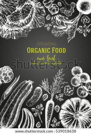 Vegetables top view frame. Farmers market menu design. Organic food poster. #539018638