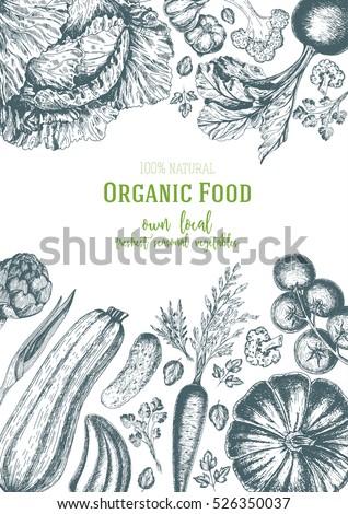 Vegetables top view frame. Farmers market menu design. Organic food poster. Vintage hand drawn sketch vector illustration. Linear graphic #526350037