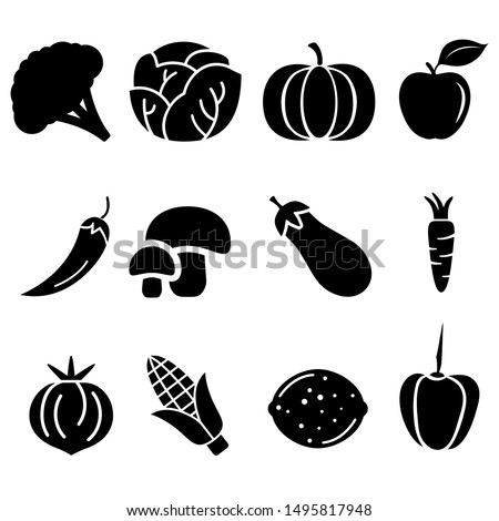 Vegetables vector icons set. Fruits illustration symbol collection.