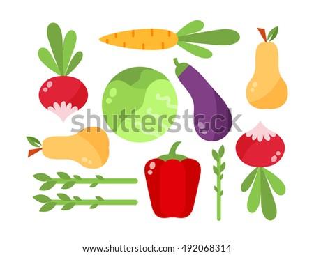 Vegetables vector set vegetarian organic diet isolated food #492068314