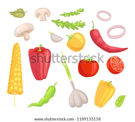 Vegetables veggies isolated icons set vector. Herbs and leaves mushroom pepper paprika and corn. Tomatoes garlic and onion rings vegs and greenery #1189133158