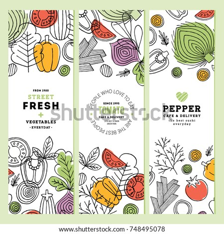 Vegetables vertical banner collection. Linear graphic. Vegetables backgrounds. Scandinavian style. Healthy food. Vector illustration