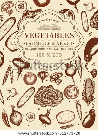 Vegetables vintage poster hand drawn eco food, farmer market vegetables. Healthy fresh food, vegetarian vegetables