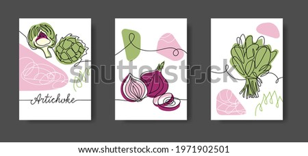 Vegetables wall line art decor. Green salad leaf, spinach, onion, artichoke. Set of vector illustrations, one continuous line decoration of vegetables for kitchen or cafe.