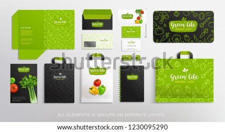 Vegetal Brand identity Mockup set of concept logo, line icons pattern, package, stationery jbjects. Vegetal Logo template with vector vegetables. Folder, envelope and shopping bags mockups