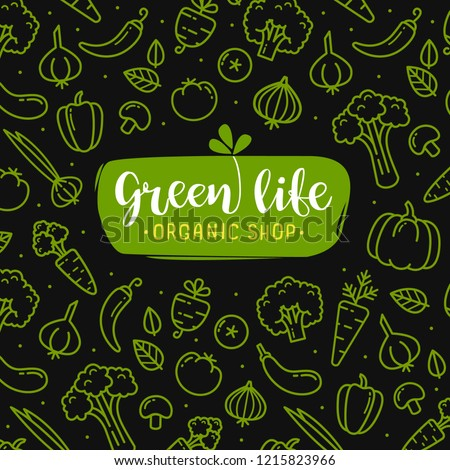Vegetal Logo with flat line vegetables icons on black background for branding identity organic shop. Green Hand drawn Vegetable sign and icons elements  #1215823966