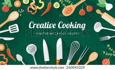 Vegetarian and vegan food recipes banner with kitchenware, utensils and chopped vegetables, copyspace at center