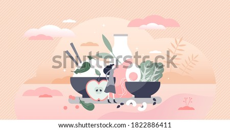 Vegetarian food diet lifestyle with menu meal example tiny person concept. Dairy and eggs with fresh organic vegetables, greens and slow carbs vector illustration. Healthy ingredients and tasty eating