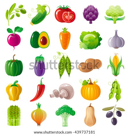 Vegetarian food icon set with organic fruits, vegetables, berries. Macro style icons collection. Tomato icon, pumpkin vegatable, eggplant, brocolli icon, olive branch, carrot vegetable, onion #439737181