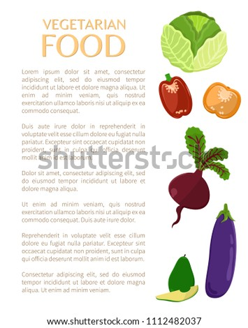 Vegetarian food, vegetables set color vector icons, illustration isolated on white backdrop, pepper eggplant, beet and cabbage, healthy products.
