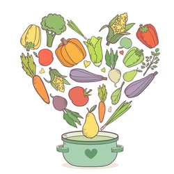 Vegetarian healthy organic background with different kind of vegetables in shape of heart