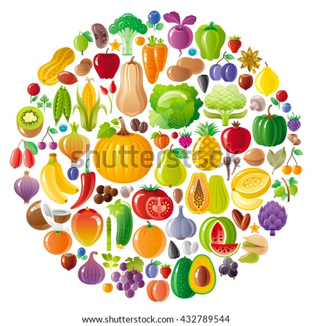 Vegetarian icon set with fruits, berries and vegetables icons on white background