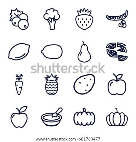 vegetarian icons set. Set of 16 vegetarian outline icons such as currant, pumpkin, potato, pear, peas, cauliflower, lemon, porridge, Lemon, pizza, apple, strawberry, pineapple