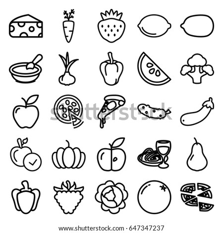 Vegetarian icons set. set of 25 vegetarian outline icons such as onion, orange, pear, cabbage, pepper, cheese, porridge, apple, lemon, pizza, cucumber, pasta and wine glass