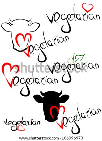 Vegetarian. Love animals. Set of headlines - handmade calligraphic. - stock vector