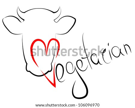 Vegetarian. Love animals. Vegetarian text signs. - stock vector