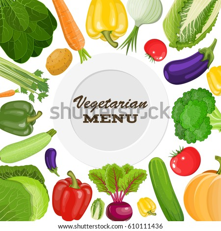 Vegetarian menu cover. Dieting and nutrition. Vector illustration in flat style #610111436