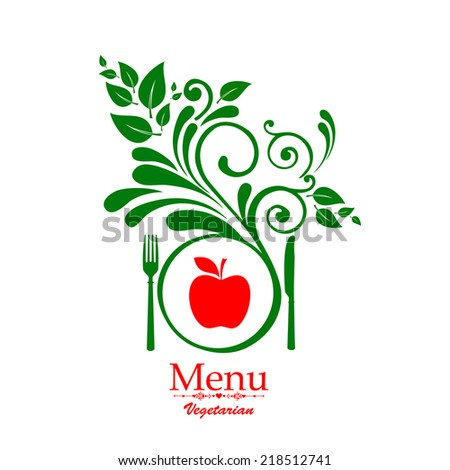 Vegetarian menu. Design elements isolated on White background. Vector illustration
