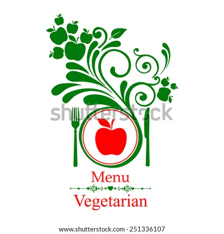 Vegetarian menu. Design elements isolated on White background. Vector illustration