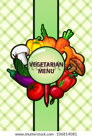 vegetarian menu design with vegetables