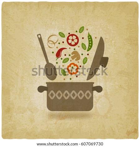 vegetarian menu or recipe book design. pot with vegetables vintage background. vector illustration - eps 10