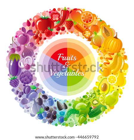 Vegetarian rainbow plate. Fruit, vegetable, nut, berry icons. Contains broccoli, strawberry, apple, cherry, pumpkin. Cooking logo for farmers market, dieting, restaurant menu, thanksgiving harvest