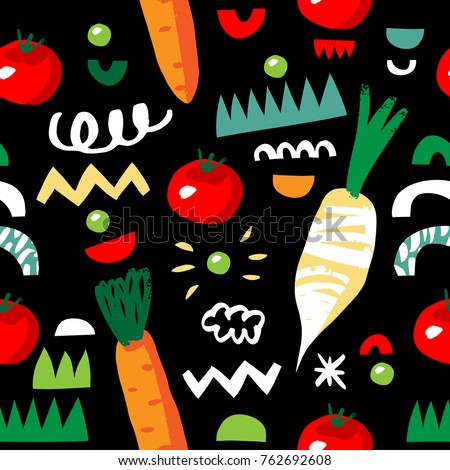 Vegetarian seamless pattern with carrot, tomato, radish, green peas, abstract elements. Colorful modern background. Vegetables on black background.