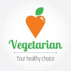 Vegetarian sign or symbol like a carrot. Vector modern illustration, stylish design element