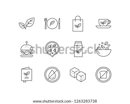 Vegetarian, vegan products line icons set  with herbs, restaurant, organic food, green tea, burger, pizza, soy milk, salad, menu, fat free, tofu, low carb.