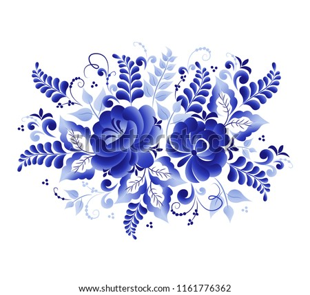 Stock Photo Vegetative vector element, abstract design, made in the technique of Russian folk art Gzhel