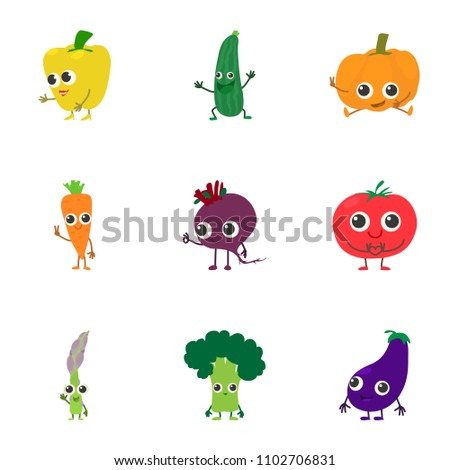 Veggie icons set. Cartoon set of 9 veggie vector icons for web isolated on white background #1102706831