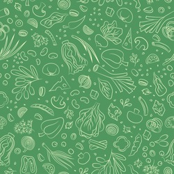 Veggie seamless pattern with vegetables. Food vector background