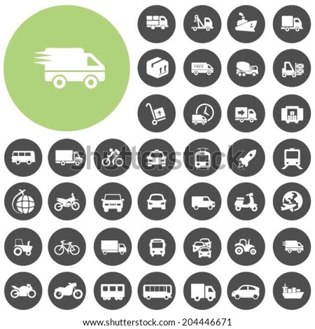 Vehicle and Transportation icons set