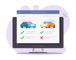 Vehicle auto web digital auction with car automobiles review, rental comparing and choosing features online shop website with history details, concept of buying or selling internet store modern design