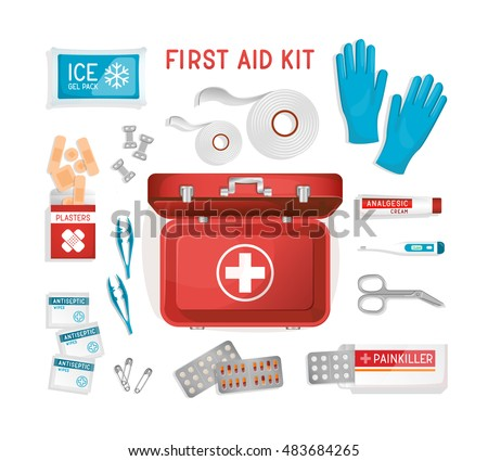 Vehicle / car / office / travel First Aid Kit. Flat lay medical help items: rubber gloves, suitcase, cold pack, plasters, pills, bandage. Vector illustration. Elements for medical infographics.