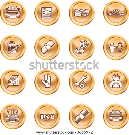 Vehicle dealership icon set  Icons or design elements related to purchasing a car. No meshes. Raster version