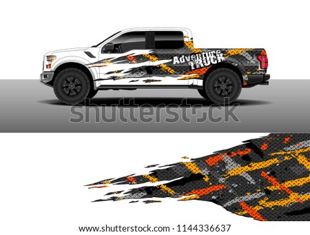 Vehicle decal wrap design, truck, car and cargo van vector. Graphic abstract stripe background designs for vehicle, race, advertisement, adventure and livery car.