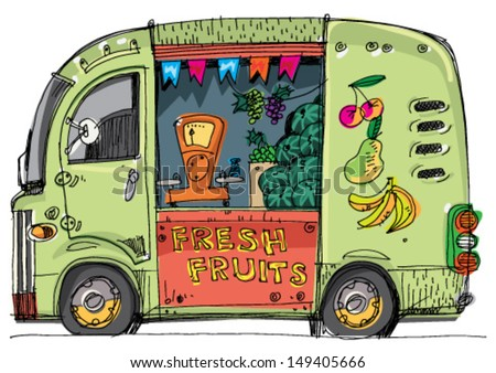 vehicle full of fruits and vegetables cartoon