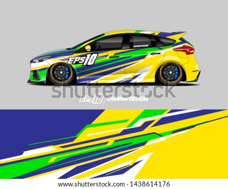 Vehicle graphic design concept. Abstract racing background for wrap vehicles, race cars, cargo vans, pickup trucks and livery.
