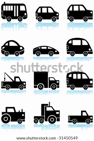 Vehicle Icon Black Set: Automobile themed set of icons in a basic black and white line art style.