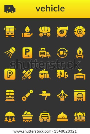 vehicle icon set. 26 filled vehicle icons.  Collection Of - Bus, Ambulance, Wash, Wagon, Turbo, Wheel, Sputnik, Parking, Ice cream van, Delivery truck, Rocket, Caravan, Truck