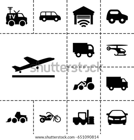 Vehicle icon. set of 13 filled vehicleicons such as plane taking off, forklift, toy car, car, excavator, tv van, garage, motorcycle, helicopter