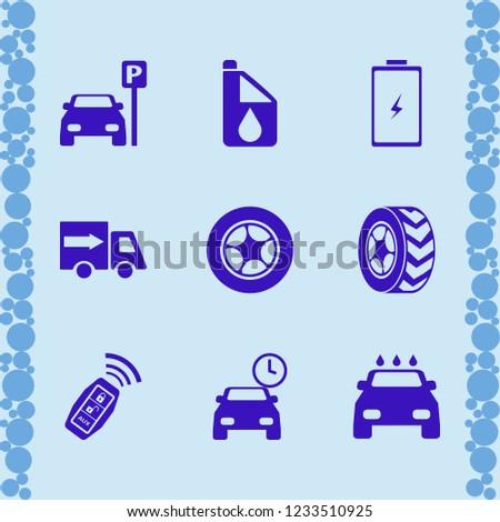 vehicle icon. vehicle vector icons set battery, car wash, car key signal and car wheel