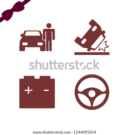vehicle icon. vehicle vector icons set car battery, man with car, car accident and steering wheel