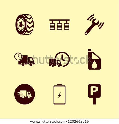 vehicle icon. vehicle vector icons set car wheel, parking sign, pedals and fast delivery truck