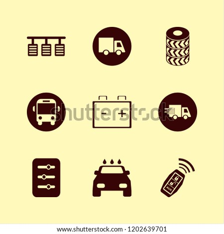 vehicle icon. vehicle vector icons set fast delivery truck, car wheels, car key signal and filter