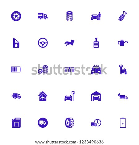 vehicle icon. vehicle vector icons set fast delivery truck, car wheels, private garage and car wash