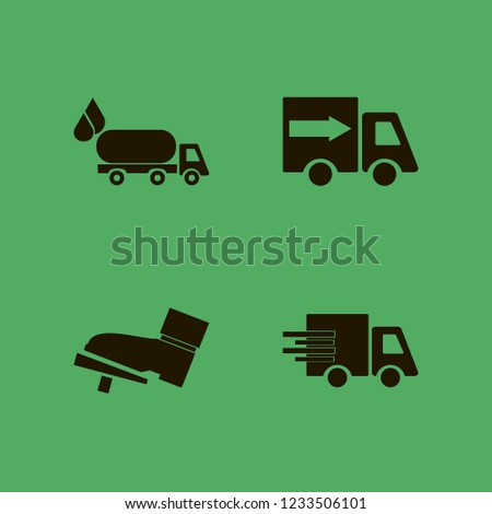 vehicle icon. vehicle vector icons set fast delivery truck, foot on the pedal and oil truck