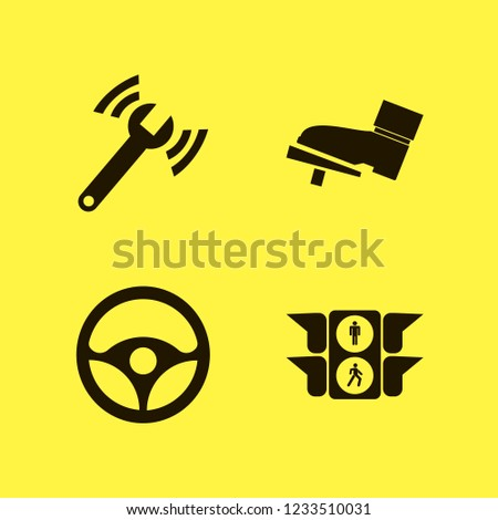 vehicle icon. vehicle vector icons set steering wheel, diagnostycs wrench, foot on the pedal and traffic signs